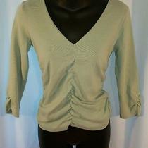 Express Women v-Neck 3/4 Sleeve Top Shirt Cotton Spandex Sz Medium Euc Side Ruch Photo