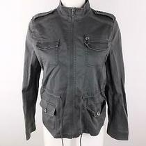 Express Women Xs Gray Cotton Spandex Full Zip Adjustable Khaki Utility Jacket Photo