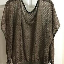 Express Womens 3/4 Sleeve Sheer Lace Knit Top - Brown W/ Sparkle - Size Medium Photo