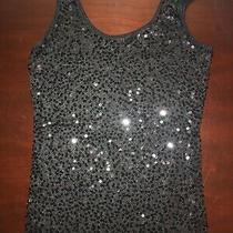 Express Womens Black Pink Sequin Front Tank Top Size S  Photo