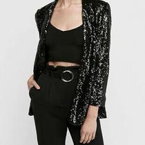 Express Womens Black Sequin Party Boyfriend Blazer Classic Jacket Boho Chic Xs Photo