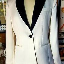 Express Womens Blazer White Black Trim Size 4 Photo