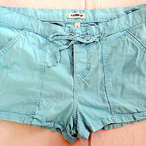 Express Womens Blue Shorts Hipster Adjustable Waist Ties Bright Colorful  Size 8 Photo