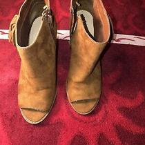 Express Womens Brown Booties Ankle Boots Peep Toe Zip Side Size 7 Photo