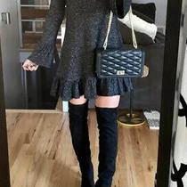 Express Womens Burgundy/wine Mock Neck Ruffle Trapeze Dress Size Medium Photo