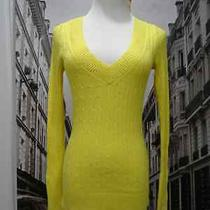Express Womens Cable Knit v Neck Sweater Yellow Sz Xs Photo