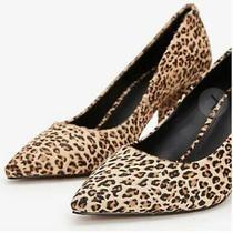 Express Womens Calf Hair Cheetah Block Heel Pump 7 Nwob Photo