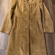 Express Womens Camel Color Suede Travel Coat. Size 7/8 Photo