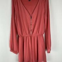 Express Womens Coral Long Sleeve Romper W/front Zipper Size Xs  Photo
