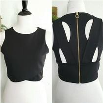 Express Womens Crop Top Sz M Black Blouse Cut Out Back Full Zip Up Nwt Photo