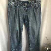 Express Womens Denim Boyfriend Capri Jeans Dark Wash Light Distressed Sz 8 Blue Photo