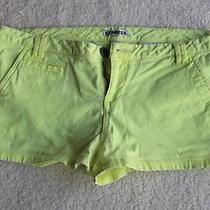 Express Womens Denim Jean Shorts Solid Lime Green Size 8 Photo