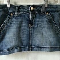 Express Womens Denim Skirt 6 Embellished Pink Stitching Pockets Medium Wash Photo
