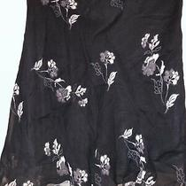 Express Womens Flare Skirt Above Knee Sheer Lined Black Gray Blue-Gray Floral M Photo