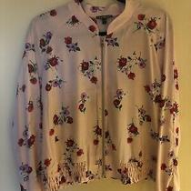 Express Womens Floral Pink Bomber Jacket Size Large Photo