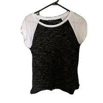 Express Womens Grey and White Short Sleeve Top Size Small Photo