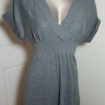 Express Womens Grey Empire Waist Short Sleeve Sweater S Small  Photo