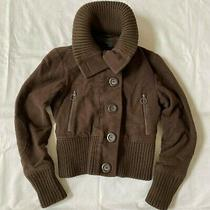 Express Womens Jacket Coat High Collar  Bomber Cropped Button Used Brown Small S Photo