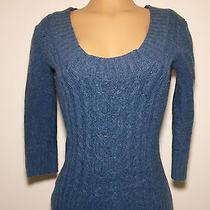 Express Womens Juniors S Small Sweater Shirt Top Blue Wool Cute Sexy Trendy Euc Photo