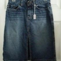 Express Womens Knee Length Skirt Denim With Front Slit Size 1/2 Photo