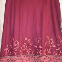 Express - Womens L - Violet & Pink Stretch Mesh Skirt W/ Floral Embroidery Photo