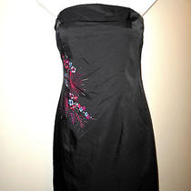 Express Womens Ladies Lined Little Black Satin Embroidered Cocktail Dress Sz 6 Photo