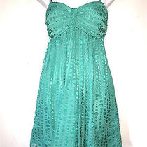 Express Womens Ladies Lined Teal Green Cocktail Party Polka Dot Mini Dress Sz 8 Photo