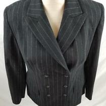 Express Womens M Black Pinstripe Double Breasted Peak Lapel Blazer Suit Jacket Photo
