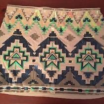 Express Womens Medium Beige Straight Mini Skirt Aztec Sequins Designs Photo