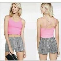 Express Womens Medium Hot Pink Crop Top Stretch Strappy Tank Top B201 Photo