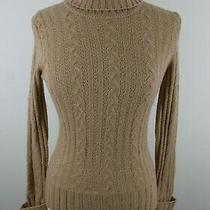 Express Womens Merino Wool Blend Cable Knit Ls Gold Turtleneck Sweater Large Photo