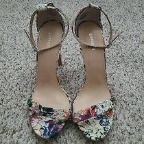 Express Womens Multi-Color  Floral High Heels Sz 7 Ankle Strap Skinny Heel Photo