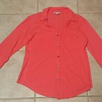 Express Womens Pink 3/4 Sleeve Vneck Button Down Top W/front Pockets Size Medium Photo