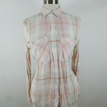 Express Womens Rayon Ls Button Down Blush Pink Plaid Blouse Dress Shirt Size Xs Photo