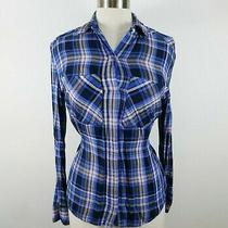 Express Womens Rayon Ls Button Up Black Blue Blush Pink Plaid Blouse Shirt Xxs Photo