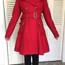 Express Womens Red Fit & Flare Wool Blend Trench Coat  S Photo