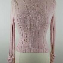 Express Womens Ribbed Wool Angora Blend Ls Blush Pink Turtleneck Sweater Size Xs Photo