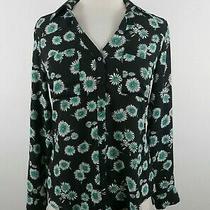 Express Womens Sheer Polyester Portofino Slim Fit Ls Button Black Floral Shirt S Photo