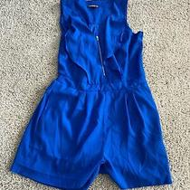 Express Womens Short Bright Blue Romper Size 4 Good Condition Photo