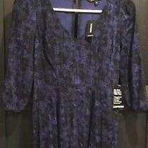 Express Womens Size 0. Dress Blue Black Ruched 3/4 Sleeves Stretch. Nwt Photo