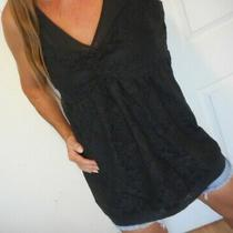 Express Womens Size Large Tank Top Black Tunic Lace Overlay Photo
