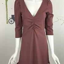 Express Womens Size Small v-Neck Ruffle Hem Fit & Flare Dress Wild Ginger Photo