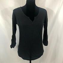 Express Womens Size Xs Black Long Roll Tab Sleeve v-Neck Knit Top Photo