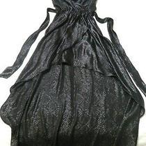 Express Womens Size Xs Black Sparkle Long Asymmetric Thin Strap Pageant Dress Photo