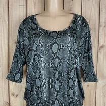 Express Womens Size Xs Short Sleeve Shirt Lined Textured Snake Print Poly Top Photo