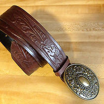 Express Womens Small Brown Leather Belt Tooled Italian Leather Photo