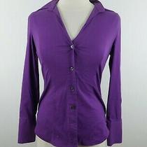 Express Womens Stretch Cotton Ls Button Down Solid Vibrant Purple Dress Shirt S Photo