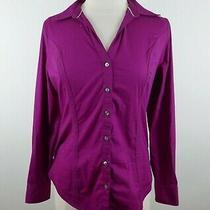 Express Womens Stretch Cotton Ls Button Up Fuchsia Pink Essential Dress Shirt M Photo