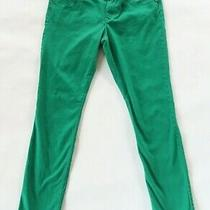 Express Womens Stretch Cotton Solid Green Skinny Jegging Jeans Pants Size 12r Photo