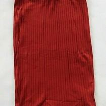 Express Womens Stretch Ribbed Rayon Rust Red Knee Length Pencil Skirt Medium Photo